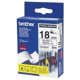 Tape Brother TZES241 18 mm, svart på hvit