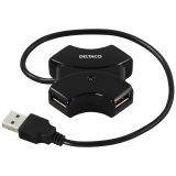 DELTACO USB 2.0 hub, 4xType A porter, 0,4m, sort