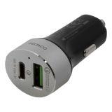 DELTACO hurtiglader for bil med USB -C og A
