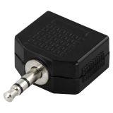 DELTACO Y-adapter for lyd, 1 x 3,5 mm ha til 2 x 3,5 mm ho