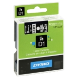 Tape Dymo D1 12 mm hvit på svart