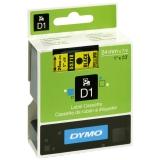 Merkebånd Dymo D1 24 mm, svart på gul